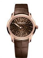 Женские классические часы Audemars Piguet Millenary 77266OR_GG_A823CR_01 в сатинированном розовом золоте со смещенным диском, коричневый циферблат, кожа кроко.