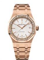 Женские спортивные часы Audemars Piguet Royal Oak 15451OR_ZZ_1256OR_01 в розовом золоте с бриллиантовым рантом, светлый циферблат, браслет из розового золота.
