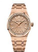 Женские спортивные часы Audemars Piguet Royal Oak 15451OR_ZZ_1256OR_03 в розовом золоте с бриллиантовым рантом, золотой циферблат, на браслете из розового золота.