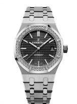 Женские спортивные часы Audemars Piguet Royal Oak 15451ST_ZZ_1256ST_01 в стальном корпусе с бриллиантовым рантом, с черным циферблатом, на стальном браслете.