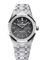 """Женские спортивные часы Audemars Piguet Royal Oak 15454BC_GG_1259BC_03 """"Frosted"""" в белом золоте с темным циферблатом на браслете из белого золота с эффектом мерцания."""
