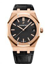 Мужские спортивные часы Audemars Piguet Royal Oak 15500OR_OO_D002CR_01 в розовом золоте с черным циферблатом на кожаном ремешке.