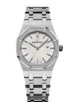 Женские спортивные часы Audemars Piguet Royal Oak 67651ST_ZZ_1261ST_01 в стальном корпусе с бриллиантовым безелем, светлый циферблат, стальной браслет.