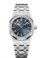 Женские спортивные часы Audemars Piguet Royal Oak 77351ST_ZZ_1261ST_01 в стальном корпусе с бриллиантовым безелем, синий циферблат, стальной браслет.