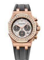 Женские спортивные часы Audemars Piguet Royal Oak Offshore 26231OR_ZZ_D003CA_01 хронограф в розовом золоте с бриллиантами, светлый циферблат с темными счетчиками, темный каучук.