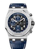 Мужские спортивные часы Audemars Piguet Royal Oak Offshore 26470ST_OO_A028CR_01 хронограф в стальном корпусе с темным циферблатом, кожаный кроко.