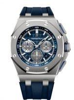 Мужские спортивные часы Audemars Piguet Royal Oak Offshore 26480TI_OO_A027CA_01 хронограф в титановом корпусе, синий циферблат, синий каучук.