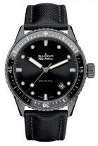 Мужские спортивные часы Blancpain Fifty Fathoms-5000 0130 B52A в корпусе из сатинированной керамики, черный циферблат, парусиновый ремешок.
