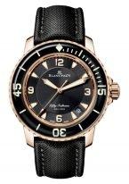 Мужские спортивные часы Blancpain Fifty Fathoms 5015 3630 52A в розовом золоте, черный циферблат, черный парусиновый ремешок.