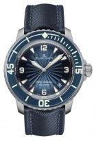 Мужские спортивные часы Blancpain Fifty Fathoms-5015D 1140 52B антимагнитные часы в стальном корпусе, синий циферблат, синяя парусиновая кожа.