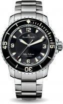 Мужские спортивные часы Blancpain Fifty Fathoms 5015 1130 71S в стальном корпусе, черный циферблат, стальной браслет.