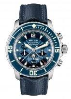 Мужские спортивные часы Blancpain Fifty Fathoms 5066F 1140 52B хронограф с годовым календарем и фазами Луны в стальном корпусе, синий циферблат, синий парусиновый ремешок.