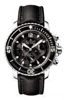 Мужские спортивные часы Blancpain Fifty Fathoms-5085F 1130 52B хронограф в стальном корпусе, черный циферблат, черный парусиновый ремешок.