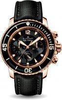 Мужские спортивные часы Blancpain Fifty Fathoms 5085F 3630 52A хронограф в розовом золоте, черный циферблат, черный парусиновый ремешок.