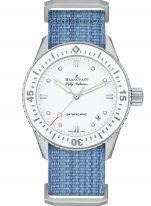 Женские спортивные часы Blancpain Fifty Fathoms-5100 1127 NAJ в стальном корпусе, белый циферблат, ремешок NATO с классической застежкой.