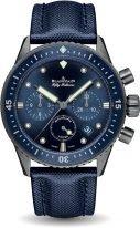 Мужские спортивные часы Blancpain Fifty Fathoms 5200 0240 O52A хронограф в корпусе из серой керамики, циферблат синий, парусиновый синий ремешок.