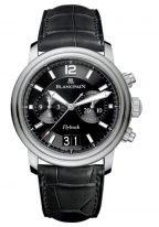Мужские часы Blancpain Leman-2885F 11B30 53B хронограф с большой датой в стальном корпусе, черный циферблат, черный ремешок кроко.