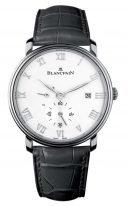 Мужские классические часы Blancpain Villeret-6606 1127 55B с запасом хода и датой в стальном корпусе, белый циферблат, черная кожа кроко.