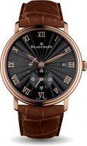 Мужские классические часы Blancpain Villeret 6606 3630 55B с запасом хода и датой в розовом золоте, опаловый циферблат, коричневая кожа кроко.
