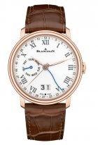 Мужские классические часы Blancpain Villeret-6637 3631 55B с индикацией дня недели и даты в розовом золоте с белым эмалевым циферблатом, коричневая кожа кроко