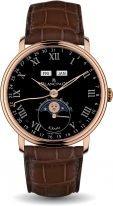 Мужские классические часы Blancpain Villeret 6639 3637 55B годовой календарь с фазами Луны в розовом золоте с черным циферблатом, коричневая кожа кроко.