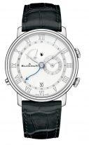 Мужские классические часы Blancpain Villeret-6640 1127 55B будильник и время второго часового пояса в стальном корпусе, белый циферблат, черная кожа кроко.