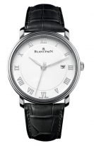 Мужские классические часы Blancpain Villeret-6651 1127 55B в стальном корпусе с датой, белый циферблат, черная кожа кроко.