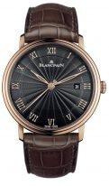 Мужские классические часы Blancpain Villeret-6651 3630 55B в розовом золоте с датой, черный циферблат с отделкой finque, коричневая кроко.