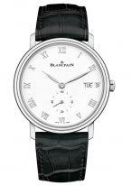 Мужские классические часы Blancpain Villeret-6652 1127 55B с указателем дня недели и даты в стальном корпусе, белый циферблат, черная кожа кроко.