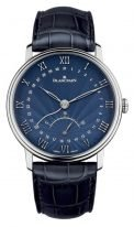 Мужские классические часы Blancpain Villeret-6653Q 1529 55B с датой и ретроградной секундной стрелкой в белом золоте, синий лакированный циферблат, синяя кроко.