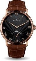 Мужские классические часы Blancpain Villeret 6653 3630 55B ультратонкие часы в розовом золоте с ретроградной секундной стрелкой, черный циферблат, коричневая кожа кроко.