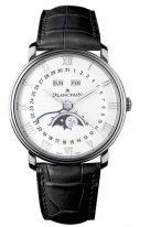 Мужские классические часы Blancpain Villeret-6654 1127 55B с годовым календарем и фазами Луны в стальном корпусе, белый циферблат, черная кожа кроко.