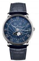 Мужские классические часы Blancpain Villeret-6654 1529 55B годовой календарь с фазами Луны в белом золоте с синим циферблатом, синий кроко ремешок.