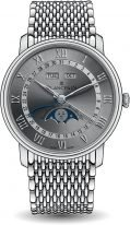 Мужские классические часы Blancpain Villeret 6654 1113 MMB годовой календарь с фазами Луны в стальном корпусе, серый циферблат, черная кожа кроко.