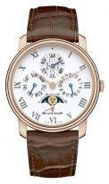 Мужские классические часы Blancpain Villeret-6659 3631 55B вечный календарь с фазой Луны в розовом золоте с белым эмалевым циферблатом, коричневая кожа кроко.