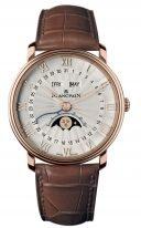 Мужские классические часы Blancpain Villeret-6664 3642 55B годовой календарь с фазами Луны в розовом золоте, опаловый циферблат, коричневая кожа кроко.