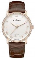 Мужские классические часы Blancpain Villeret-6669 3642 55B большая дата в розовом золоте с опаловым циферблатом, коричневая кожа кроко.