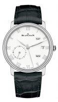 Мужские классические часы Blancpain Villeret-6670 1127 55B годовой календарь со временем второго часового пояса в стальном корпусе, белый циферблат, черная кожа кроко.