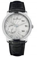 Мужские классические часы Blancpain Villeret-6670 1542 55B годовой календарь со временем второго часового пояса в белом золоте, серебристый циферблат, черная кожа кроко.