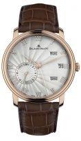 Мужские классические часы Blancpain Villeret-6670 3642 55B годовой календарь со временем второго часового пояса в розовом золоте, светлый циферблат, коричневая кожа кроко.