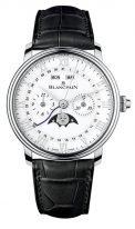 Мужские классические часы Blancpain Villeret-6685 1127 55B хронограф, годовой календарь, фазы Луны в стальном корпусе, белый циферблат, черная кожа кроко.