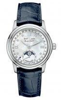 Женские классические часы Blancpain Women-2360 1191A 55B годовой календарь с фазами Луны в стальном корпусе, перламутровый циферблат с бриллиантовыми индексами, ремешок кроко.