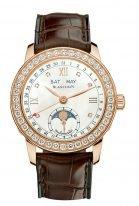 Женские классические часы Blancpain Women-2360 2991A 55B годовой календарь, фазы Луны в розовом золоте с бриллиантовым рантом, перламутровый циферблат, кожа кроко.