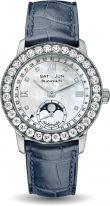 Женские классические часы Blancpain Women 2360 1991A 55A годовой календарь с фазами Луны в белом золоте с бриллиантовым рантом, перламутровый циферблат, кожа кроко.