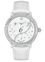 Женские классические часы Blancpain Women 3650A 4528 55B со смещенной часовой стрелкой в стальном корпусе с ретроградной секундной стрелкой, белым циферблатом, белый ремешок кроко.