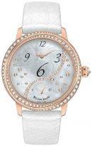 Женские классические часы Blancpain Women 3650A 3754 58B с ретроградной секундной стрелкой, в розовом золоте, перламутровый циферблат с бриллиантами, кожа страуса.