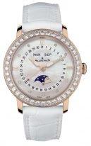 Женские классические часы с бриллиантовым рантом Blancpain Women-3663 2954 55B годовой календарь с фазами Луны в розовом золоте, перламутровый циферблат с бриллиантовыми индексами, белая кожа кроко.