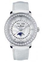 Женские часы с бриллиантовым рантом Blancpain Women-3663A 4654 55B годовой календарь с фазами Луны в стальном корпусе, перламутровый циферблат с бриллиантовыми индексами, сатиновый белый ремешок.