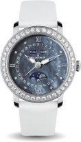 Женские классические часы Blancpain Women 3663 4654L 52B годовой календарь с фазами Луны в стальном корпусе с бриллиантовым рантом, перламутровый циферблат, атласный ремешок.