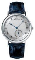 Мужские классические часы Breguet Classique 5140BB_12_9W6 в белом золоте с гильошированным циферблатом, на кожаном ремешке.